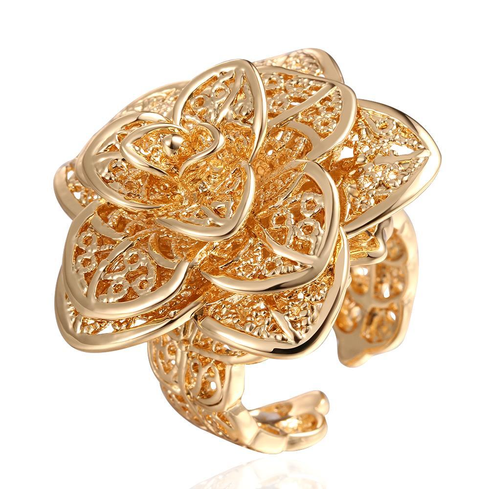 Vienna Jewelry Gold Plated Multi- Floral Petals Ring