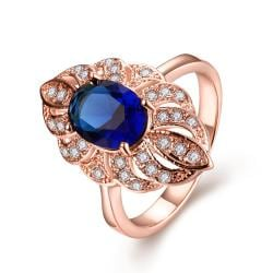 Vienna Jewelry Gold Plated Saphire Love Ring - Thumbnail 0