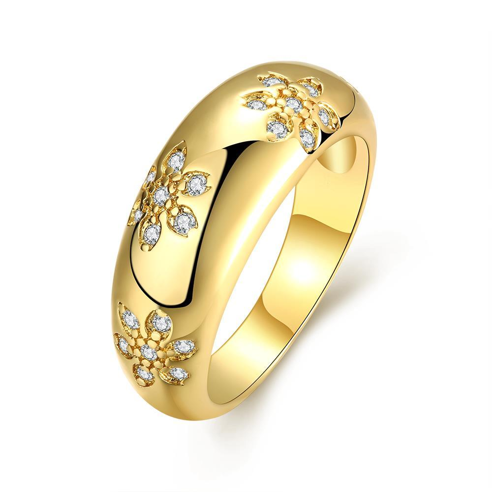 Vienna Jewelry Gold Plated Floral Inprint Ring