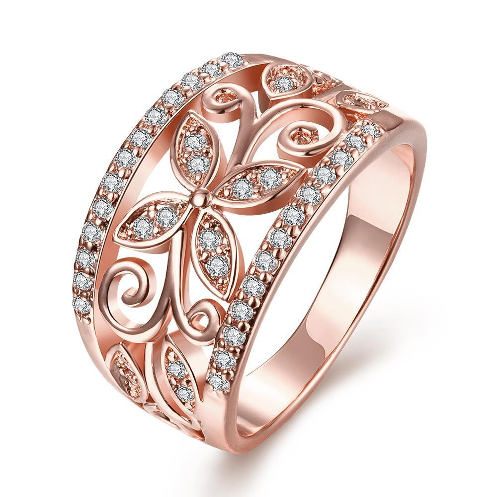 Vienna Jewelry Gold Plated Floral Design Inprint Ring
