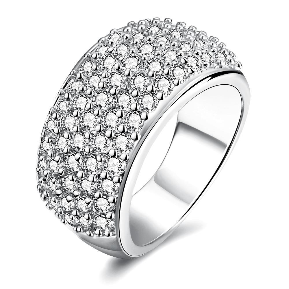 Vienna Jewelry White Gold Plated Classical Pave' Ring
