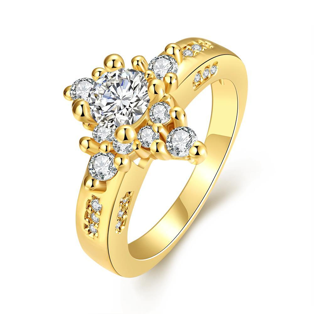 Vienna Jewelry Gold Plated Classic Diamond Design Ring