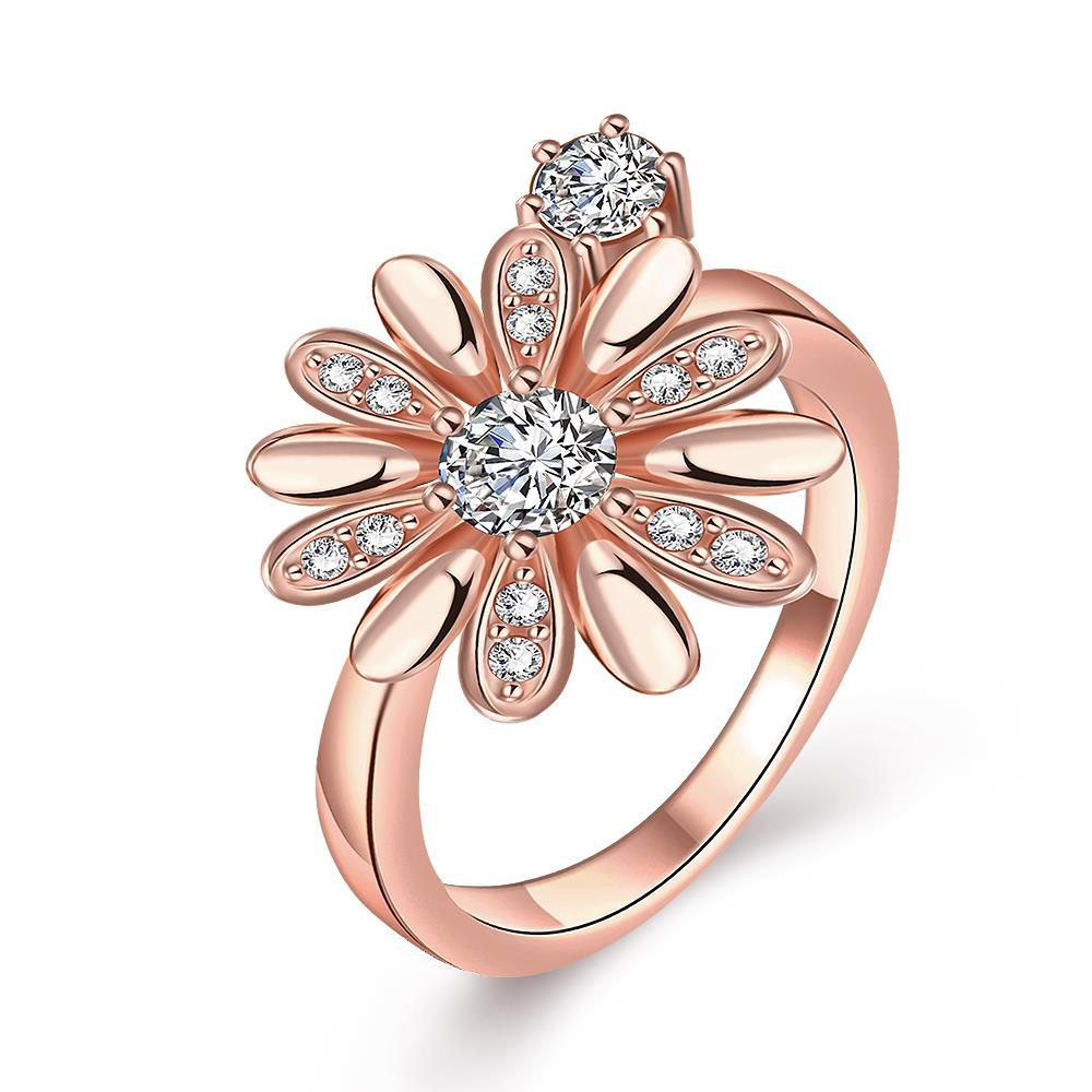 Vienna Jewelry Gold Plated Charming Daisy Ring