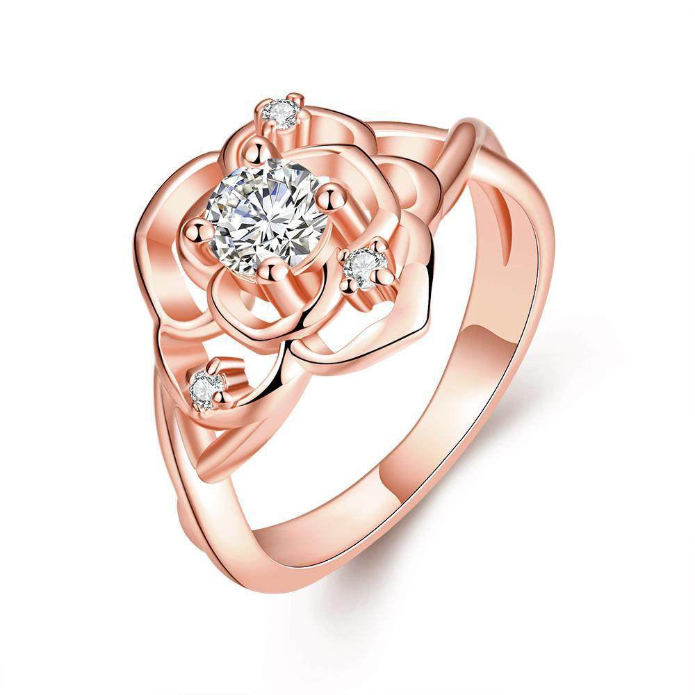 Vienna Jewelry Rose Gold Plated Blossoming Floral Ring