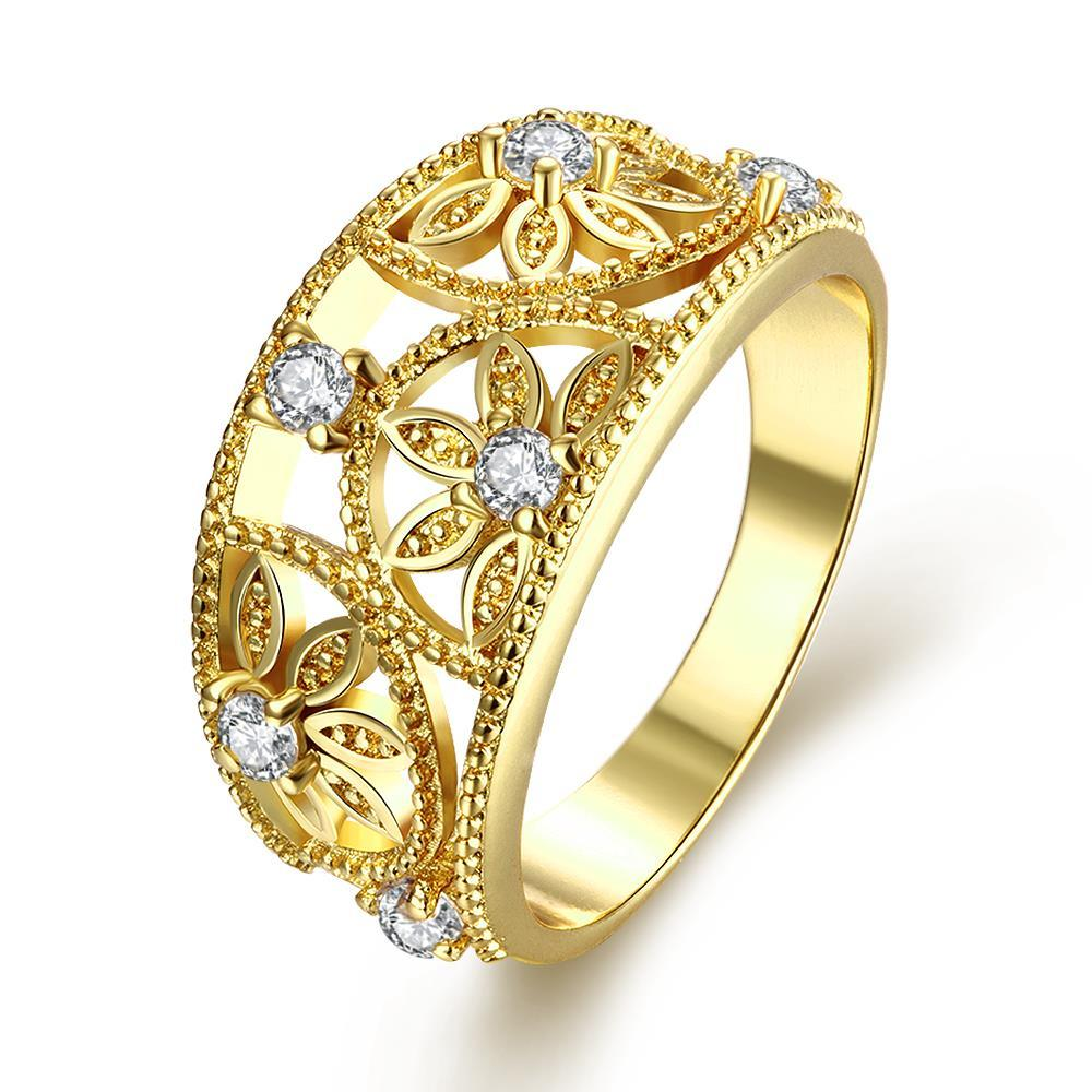 Vienna Jewelry Gold Plated Floral Inprint Design Ring