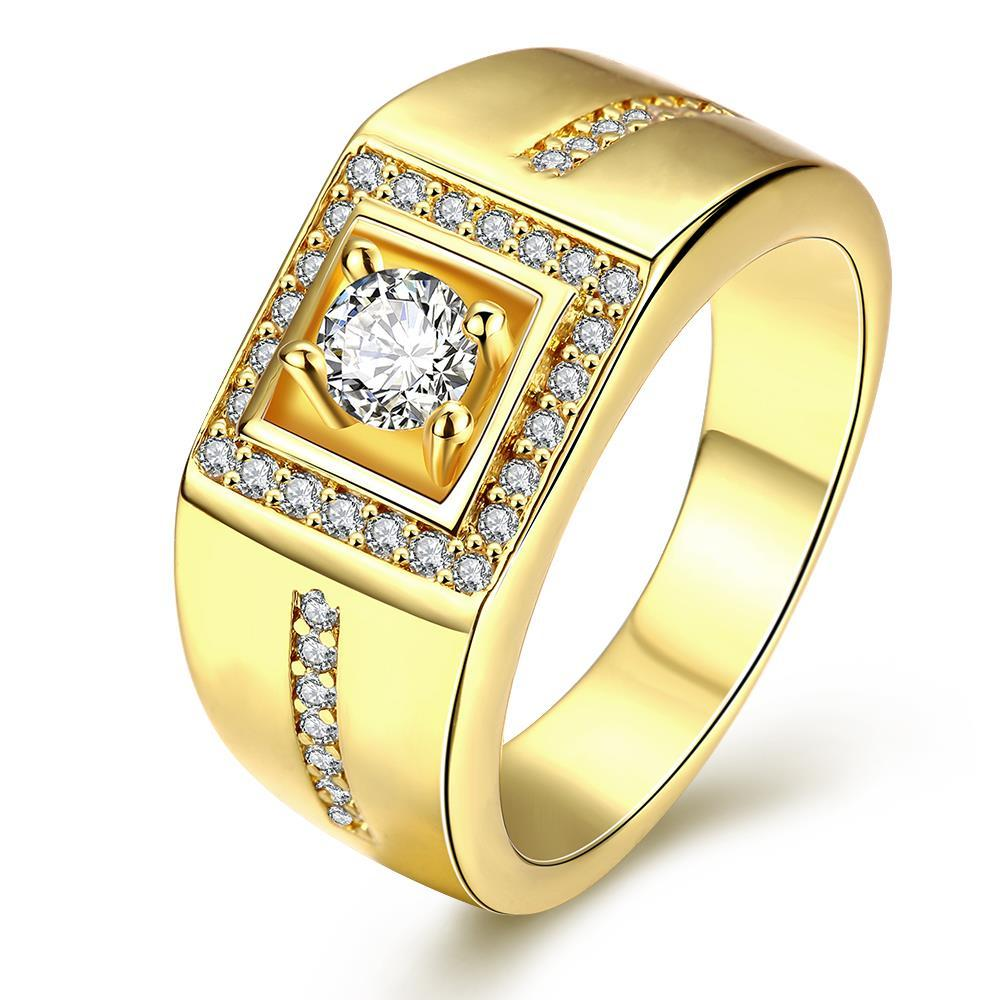 Vienna Jewelry Gold Plated Princess-Cut Crystal Ring