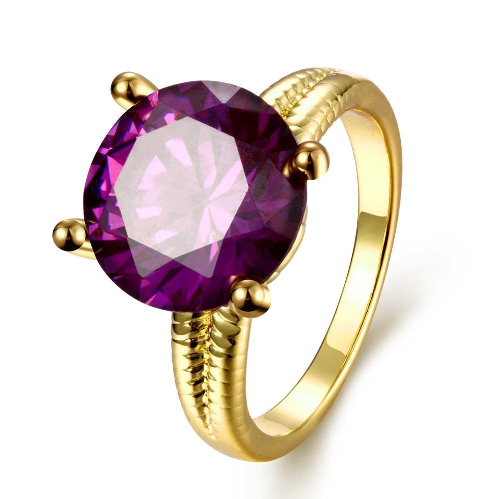 Vienna Jewelry Gold Plated Tiffany's Classic Purple Citrine Ring