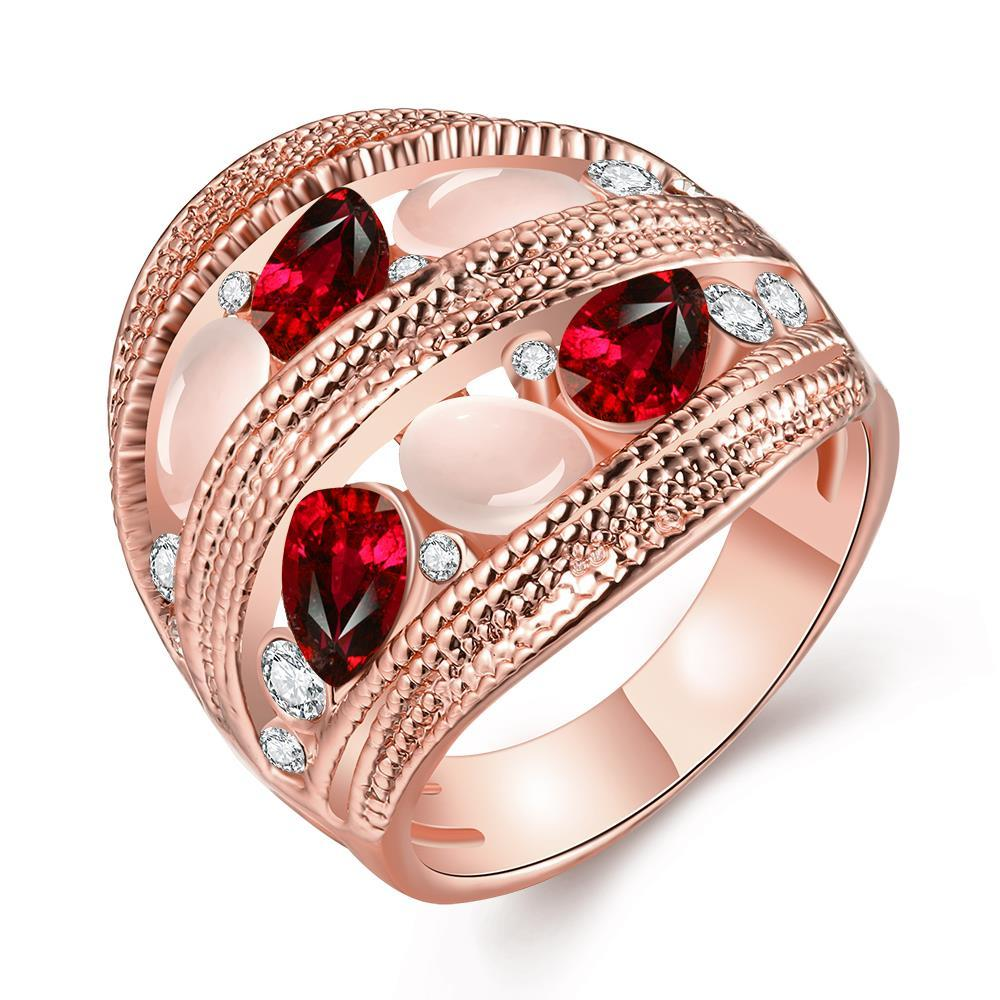 Vienna Jewelry Rose Gold Plated Trio Twisted Grape Vine Line Petite Ruby Ring Size 7