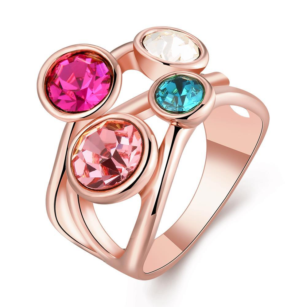 Vienna Jewelry Rose Gold Plated Quad-Rainbow Crystal Jewels Ring Size 7