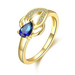 Vienna Jewelry Gold Plated Petite Saphire Leaf Ring - Thumbnail 0