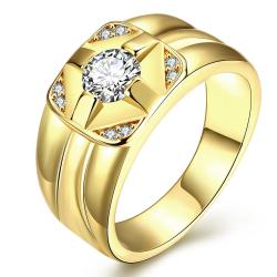 Vienna Jewelry Gold Plated Cluster Crossover Ring - Thumbnail 0