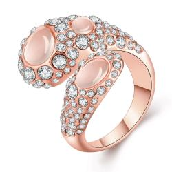 Vienna Jewelry Rose Gold Plated Open Clasp Abstract Crystal Ring Size 7 - Thumbnail 0