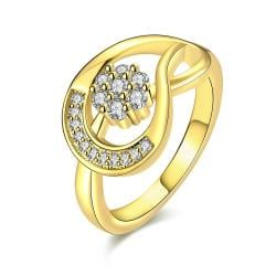Vienna Jewelry Gold Plated Twisted Horse-Shoe Ring - Thumbnail 0