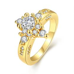 Vienna Jewelry Gold Plated Classic Diamond Design Ring - Thumbnail 0