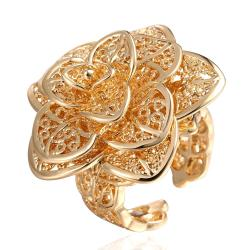 Vienna Jewelry Gold Plated Multi- Floral Petals Ring - Thumbnail 0