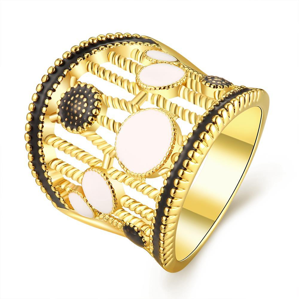 Vienna Jewelry Gold Plated Laser Cut Crown Ring Size 8