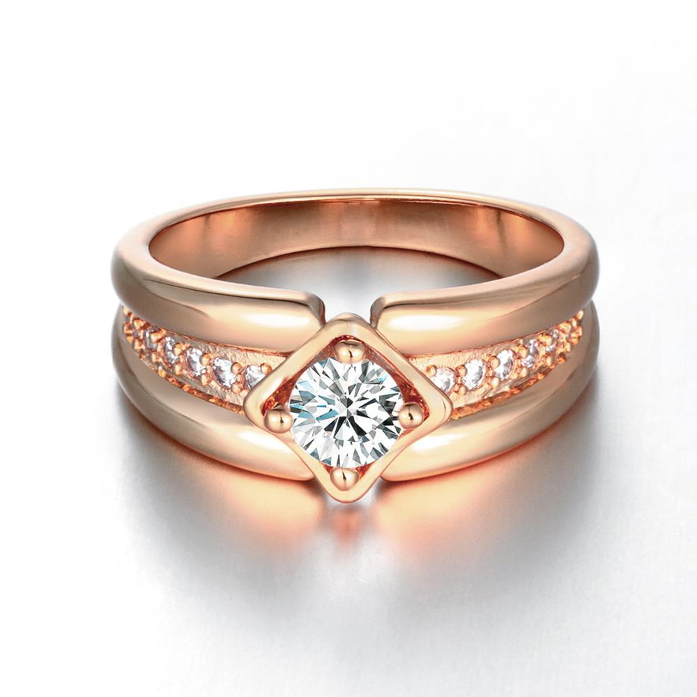 Vienna Jewelry Gold Plated Tilted Square Double Frame Ring