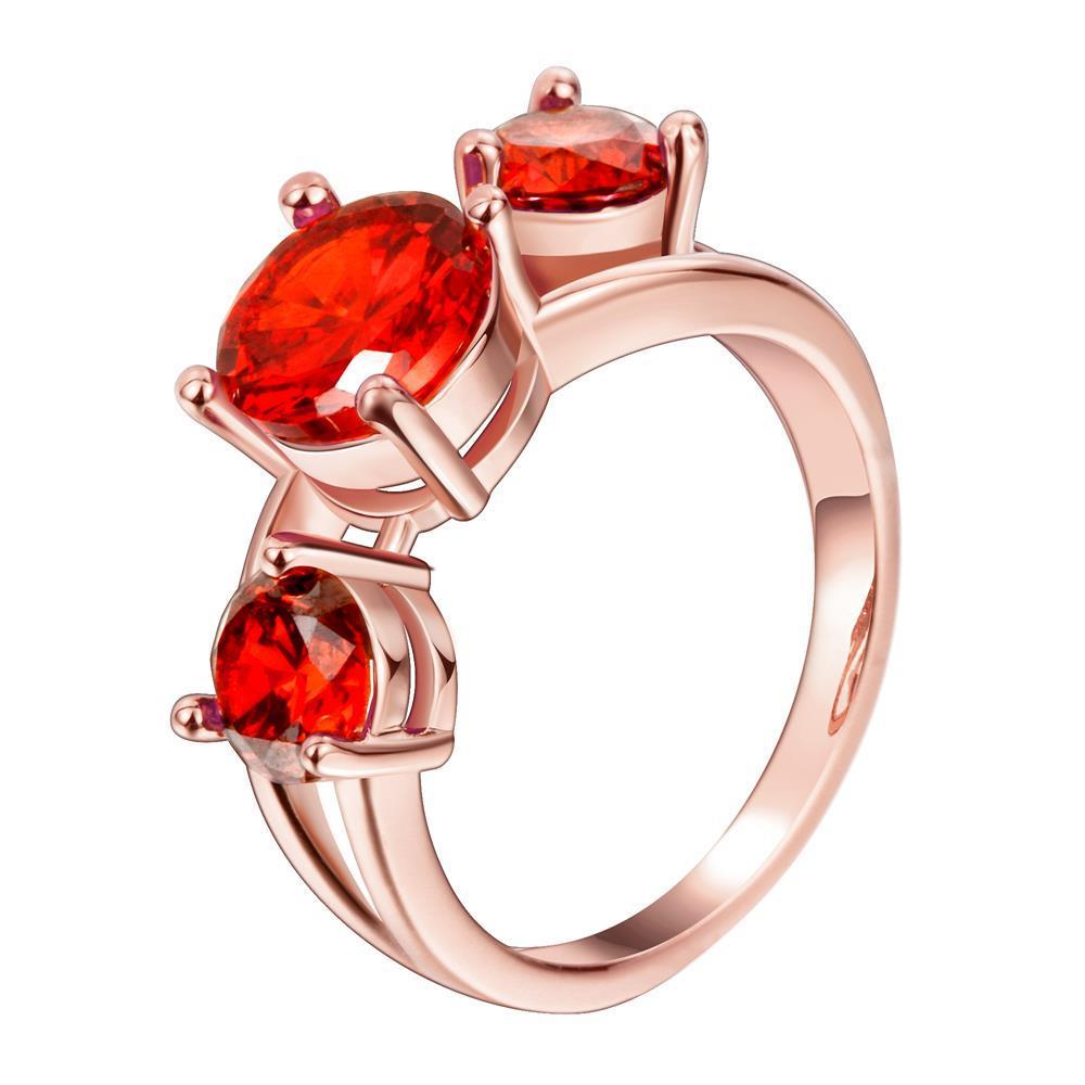 Vienna Jewelry Gold Plated Trio-Ruby Input Ring