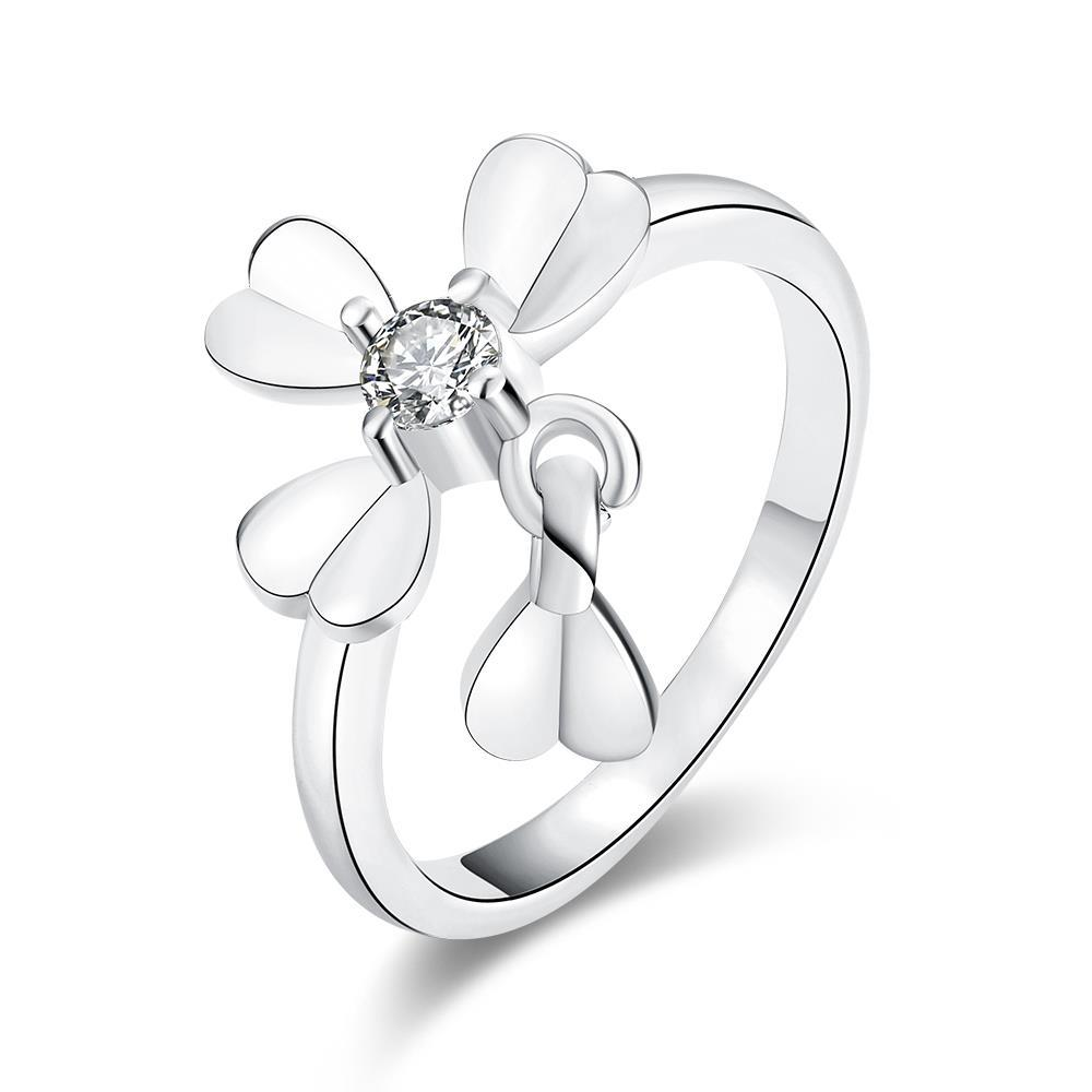 Vienna Jewelry White Gold Plated Petite Clover Ring
