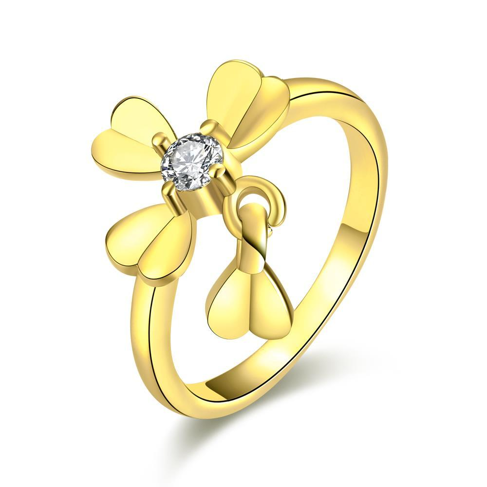 Vienna Jewelry Gold Plated Petite Clover Ring