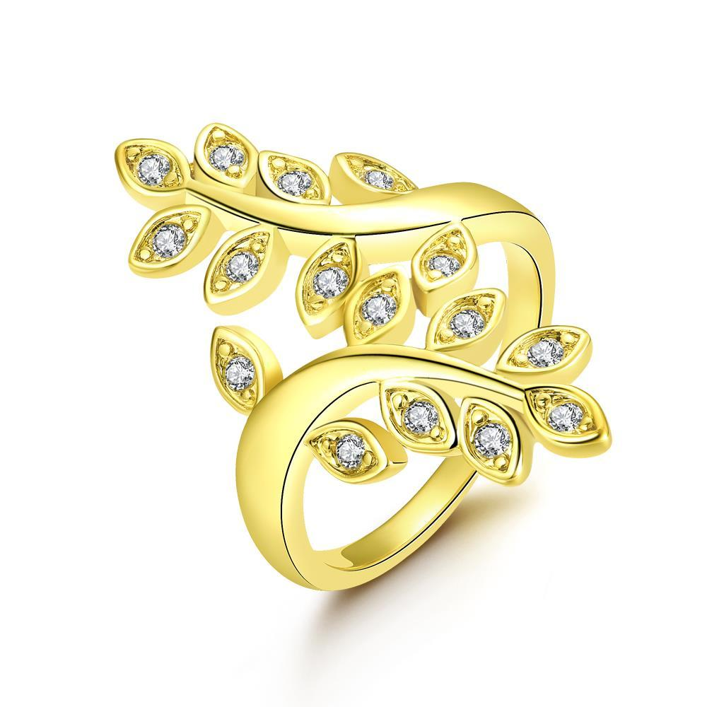Vienna Jewelry Gold Plated Grape Vine Inspired Ring - Thumbnail 0