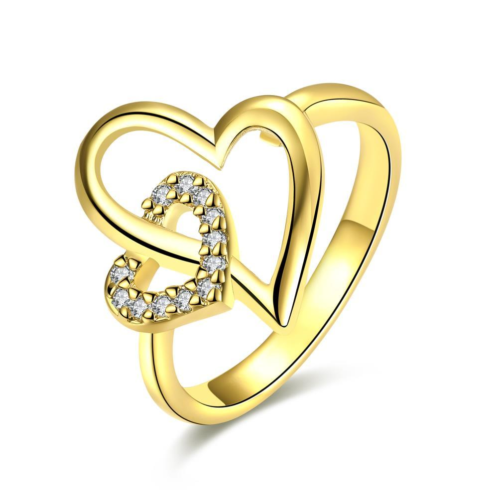 Vienna Jewelry Gold Plated Hollow Double Hearts Ring
