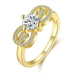 Vienna Jewelry Gold Plated Double Crystal Loop Ring - Thumbnail 0