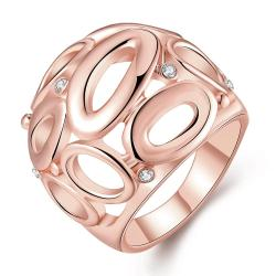 Vienna Jewelry Rose Gold Plated Laser Cut Circular Hollow Ring Size 7 - Thumbnail 0
