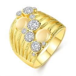 Vienna Jewelry Gold Plated Crystal Ball Lining Covering Ring Size 7 - Thumbnail 0