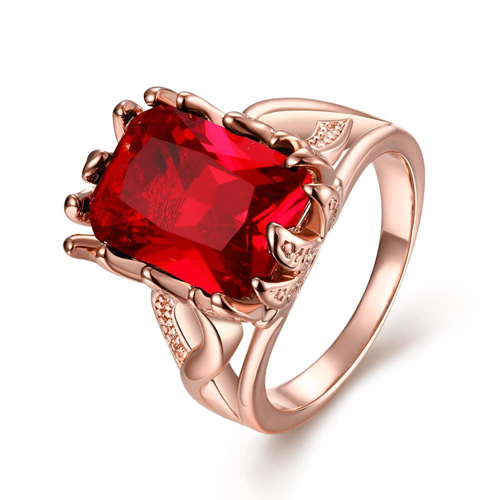Vienna Jewelry Gold Plated Thick Cut Ruby Gem Ring