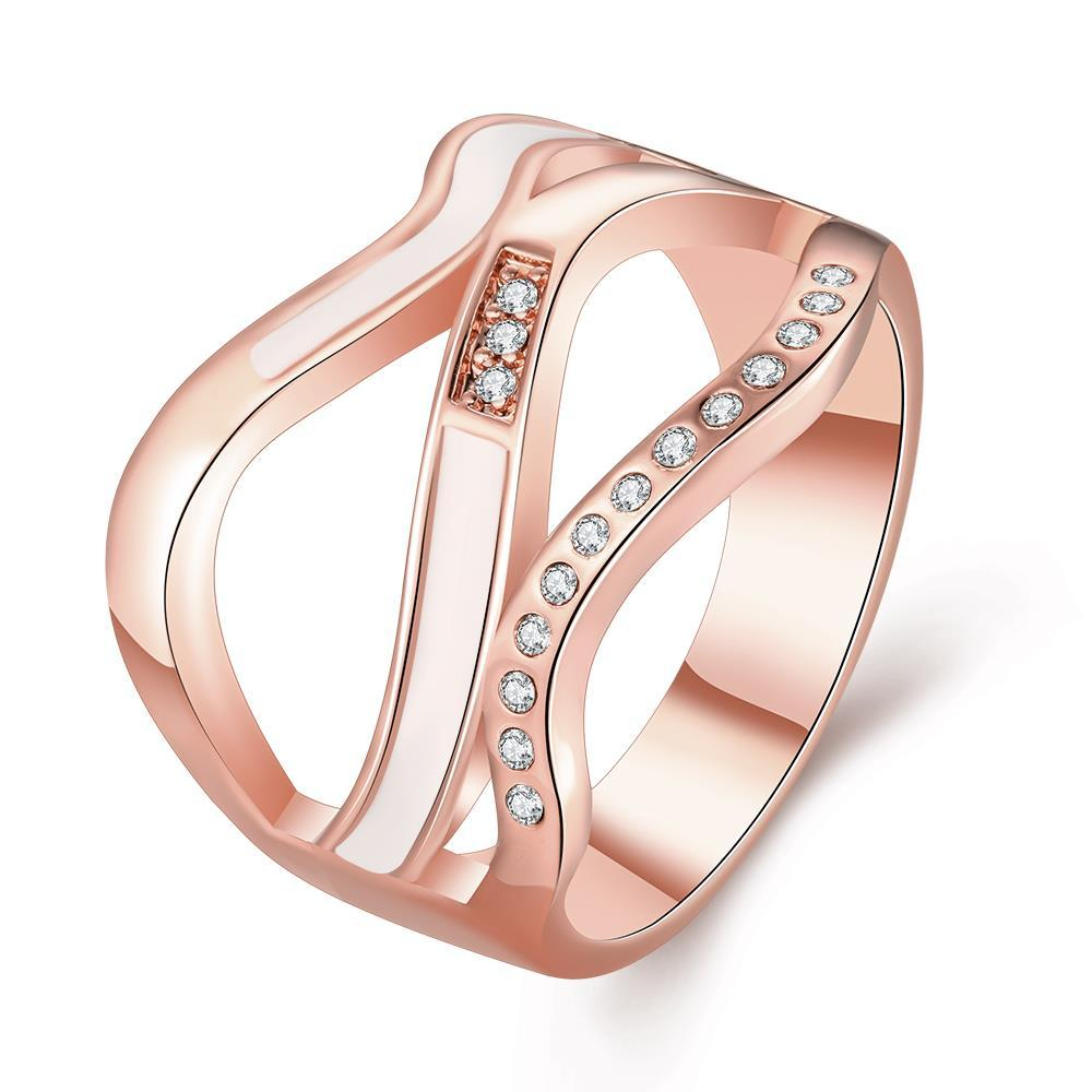 Vienna Jewelry Rose Gold Plated Angular Lined Ring Size 8