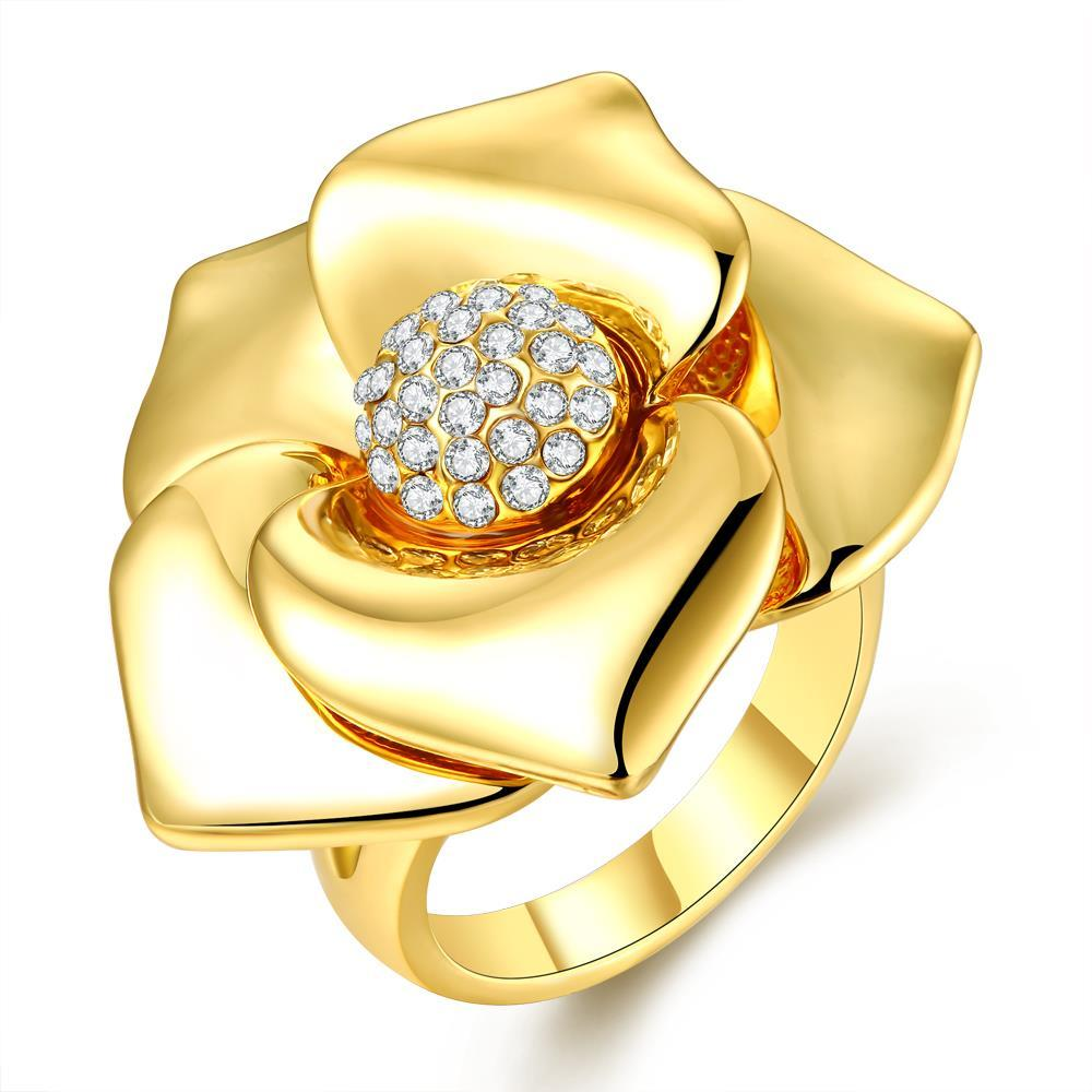 Vienna Jewelry Gold Plated Blossoming Floral Petal Ring Size 8
