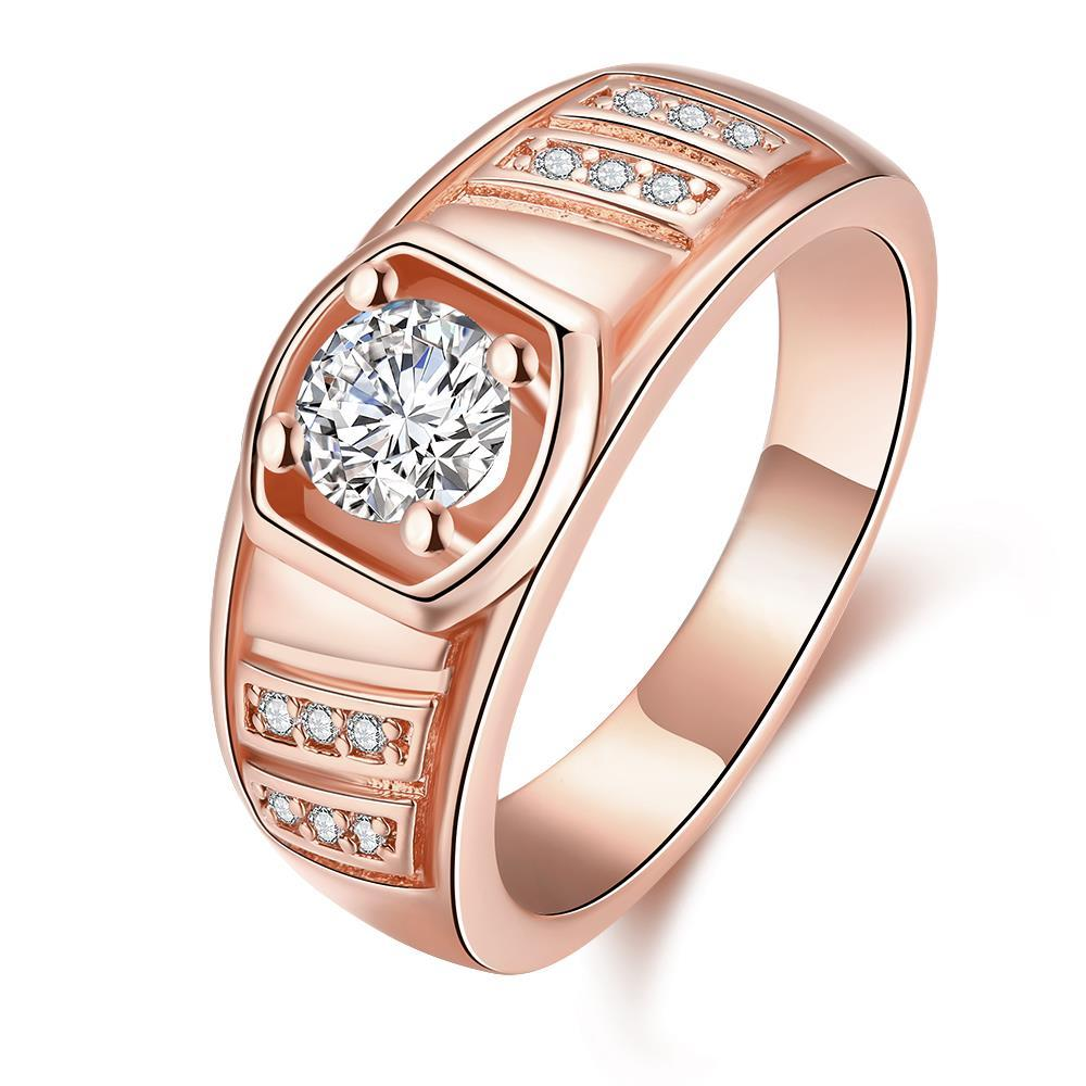 Vienna Jewelry Gold Plated Solitaire Crystal Ring