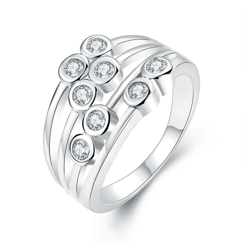 Vienna Jewelry White Gold Plated Eight Crystal Jewels Line Ring