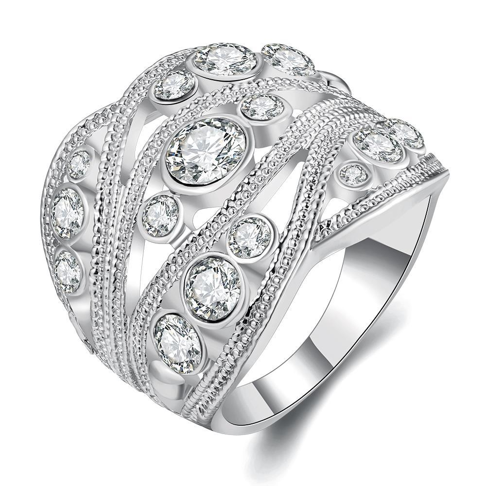 Vienna Jewelry White Gold Plated Crystal Inline Geo Ring Size 8
