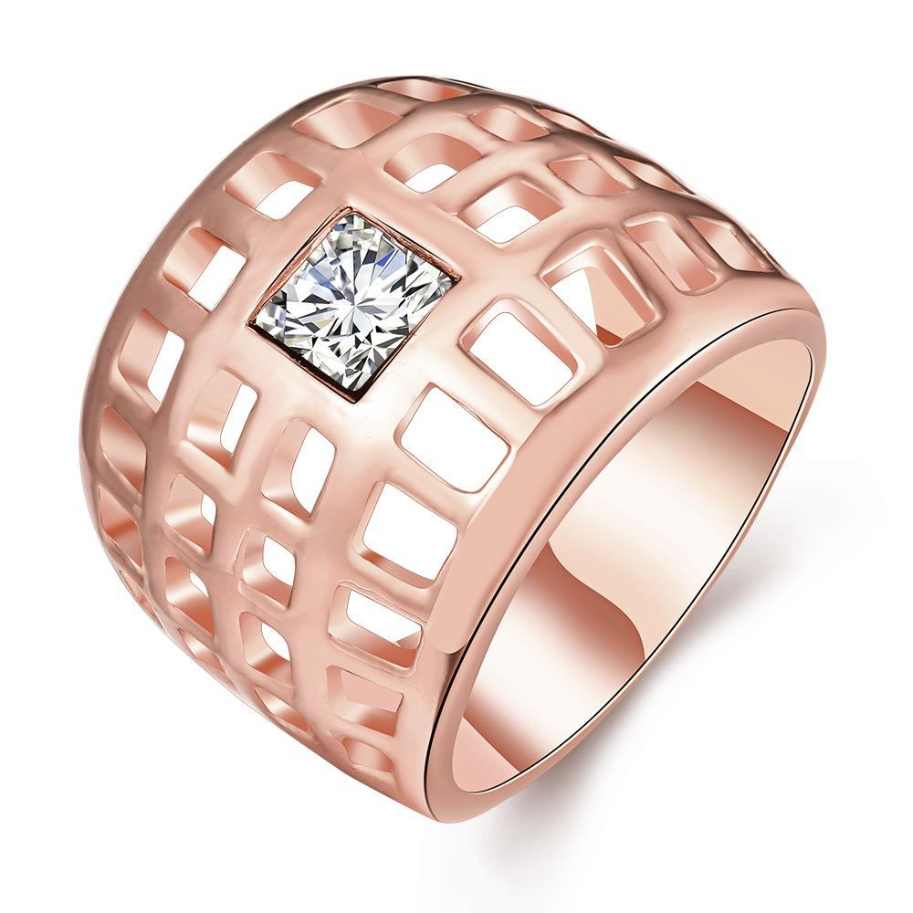 Vienna Jewelry Rose Gold Plated Laser Cut Grid Geo Ring Size 7