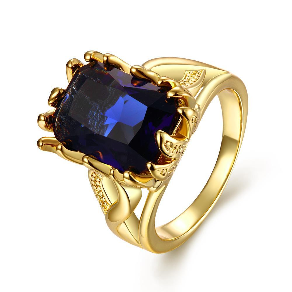 Vienna Jewelry Gold Plated Thick Cut Saphire Gem Ring