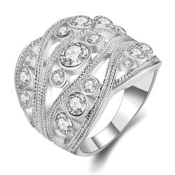 Vienna Jewelry White Gold Plated Crystal Inline Geo Ring Size 8 - Thumbnail 0