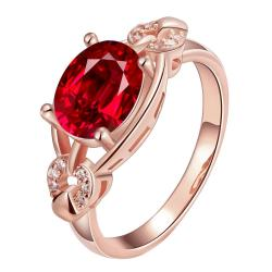 Vienna Jewelry Gold Plated Ruby Frame Ring - Thumbnail 0