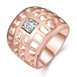 Vienna Jewelry Rose Gold Plated Laser Cut Grid Geo Ring Size 7 - Thumbnail 0