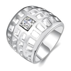 Vienna Jewelry White Gold Plated Laser Cut Grid Geo Ring Size 7 - Thumbnail 0