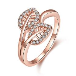 Vienna Jewelry Gold Plated Double Leaf Branch Ring - Thumbnail 0