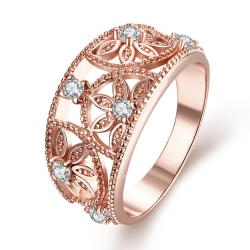 Vienna Jewelry Gold Plated Floral Inprint Design Ring - Thumbnail 0