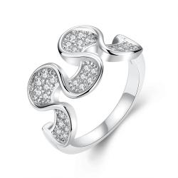 Vienna Jewelry White Gold Plated Harp Shaped Ring - Thumbnail 0