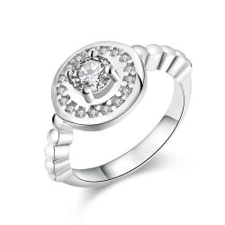 Vienna Jewelry White Gold Plated Circular Abstract Crystal Ring - Thumbnail 0