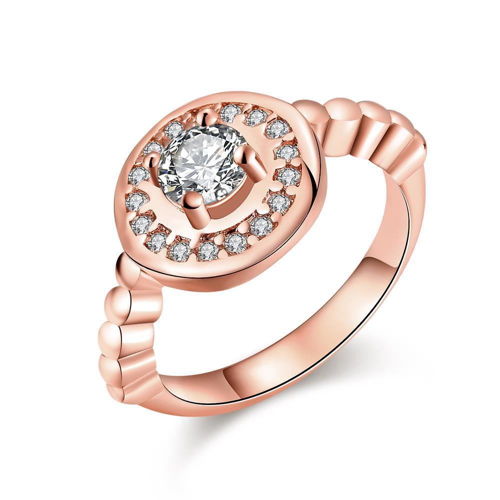 Vienna Jewelry Rose Gold Plated Circular Abstract Crystal Ring