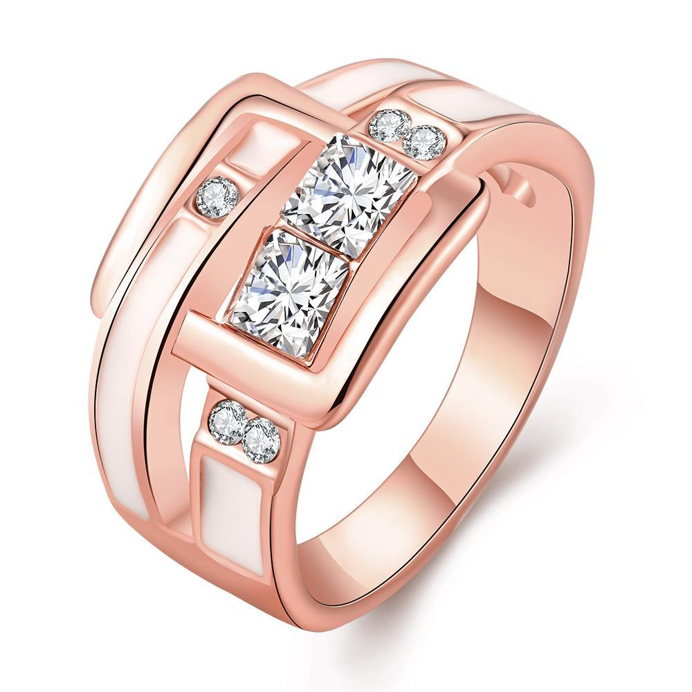Vienna Jewelry Rose Gold Plated Ivory Belt Buckle Band Ring Size 8