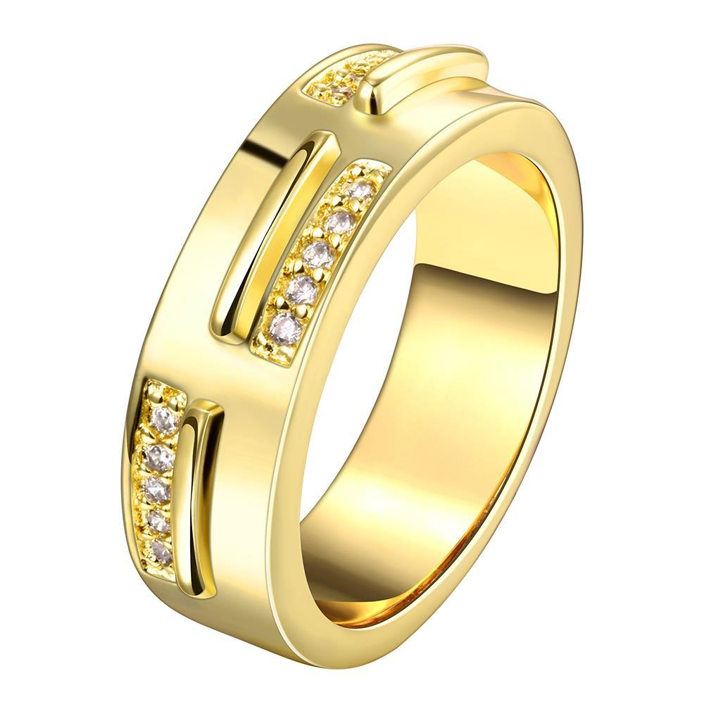 Vienna Jewelry Gold Plated Double Bars Ring