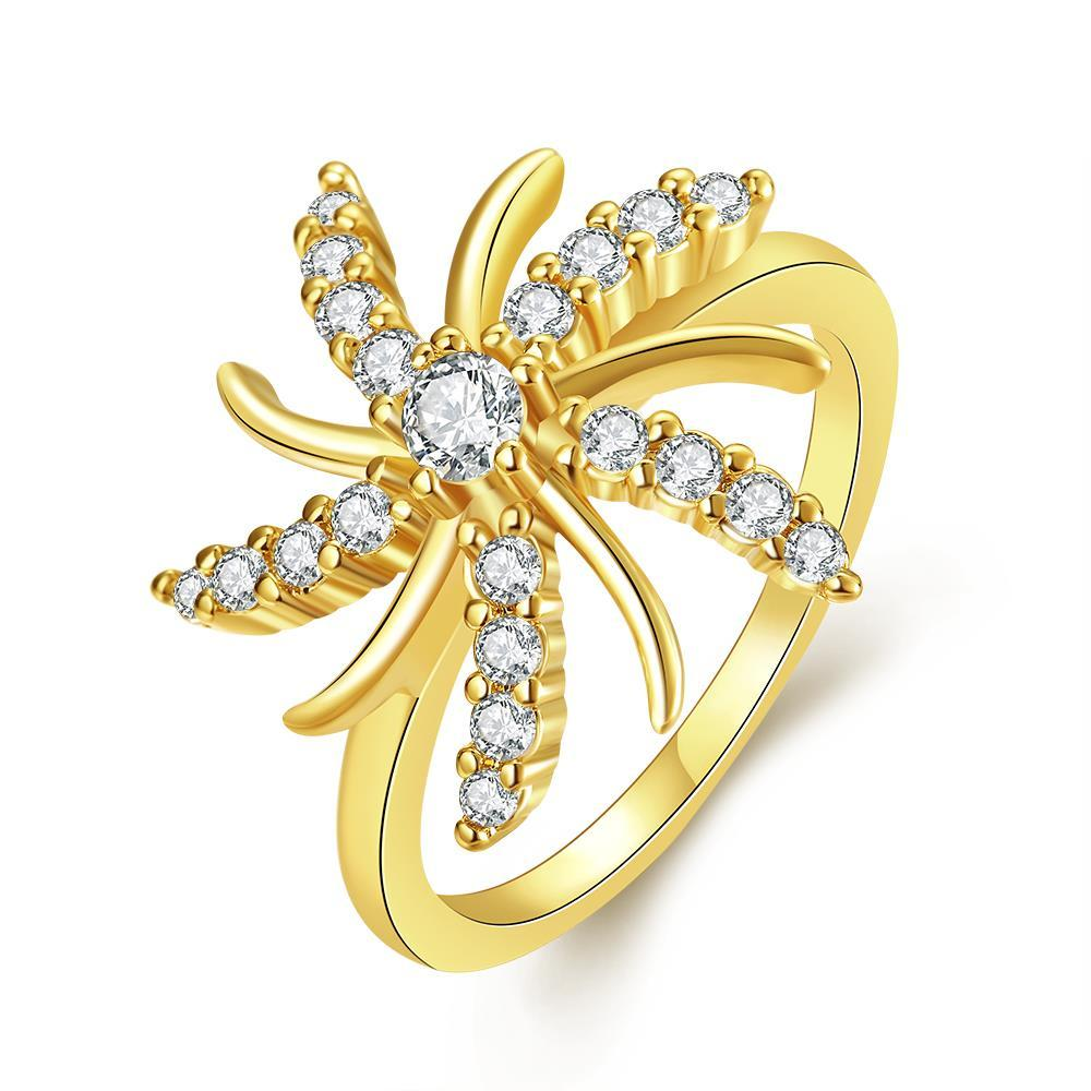 Vienna Jewelry Gold Plated Spiral Stars Ring