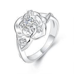 Vienna Jewelry White Gold Plated Blossoming Floral Ring - Thumbnail 0